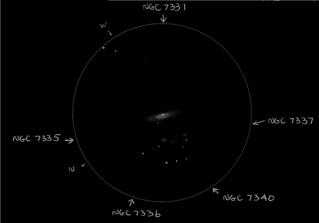 Astronomical League Additional Galaxy Group #47 (aka The Deerlick Group or NGC 7331 &The Fleas). Copyright (c) 2013 Robert D. Vickers, Jr.