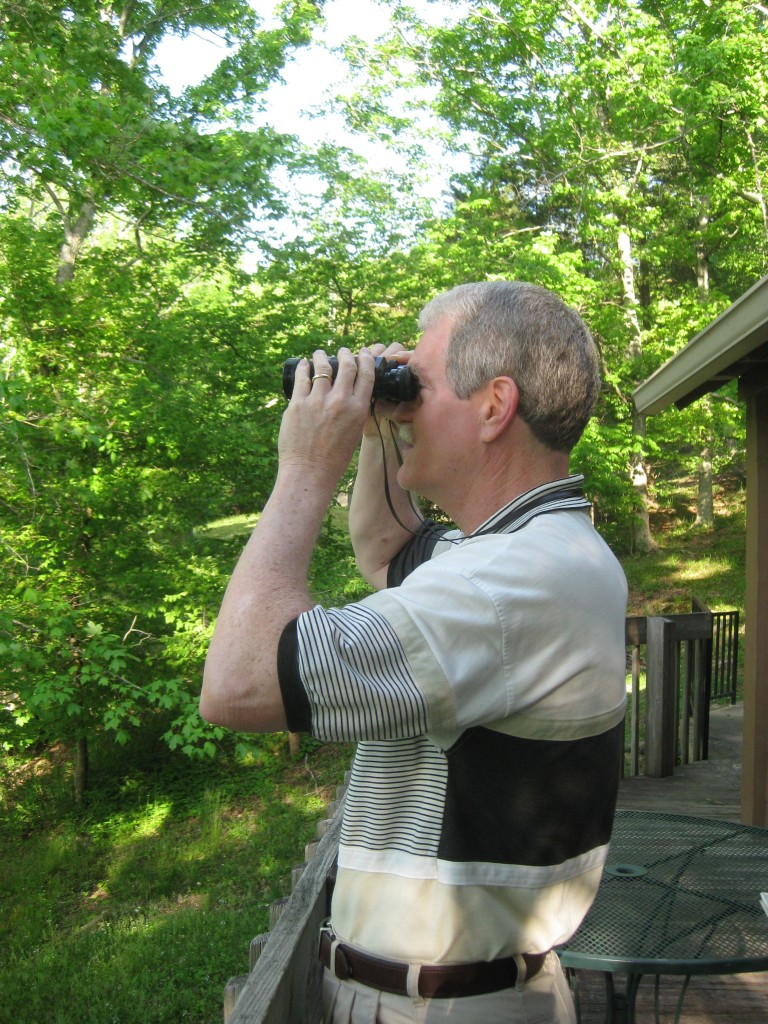 Birdwatching from the cabin's lakeside deck - Copyright (c) 2014 Robert D. Vickers, Jr.